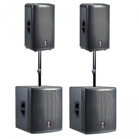 JBL PRX515 + PRX518S actieve full-range speakersysteem